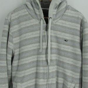 O'Neill Gray/White Striped Plush Interior Zip Up S